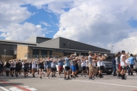 The Lake Travis High School Cavalier Band performed at the district's homecoming parade Sept. 11. (Amy Rae Dadamo/Community Impact Newspaper)