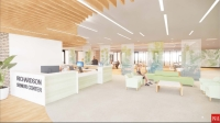 A rendering shows how the new lobby of the Richardson Senior Center will look post-renovation. (Courtesy PGAL)