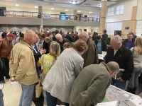 Attendees ask questions at the Feb. 20 TxDOT open house on the RM 620 widening project. (Photos by Brian Rash/Community Impact Newspaper)