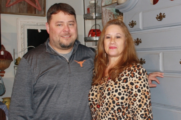Gloria Bryant and her son Daniel Bryant own and operate Jazzy Junk Resale Shop. (Jen Para/Community Impact Newspaper)