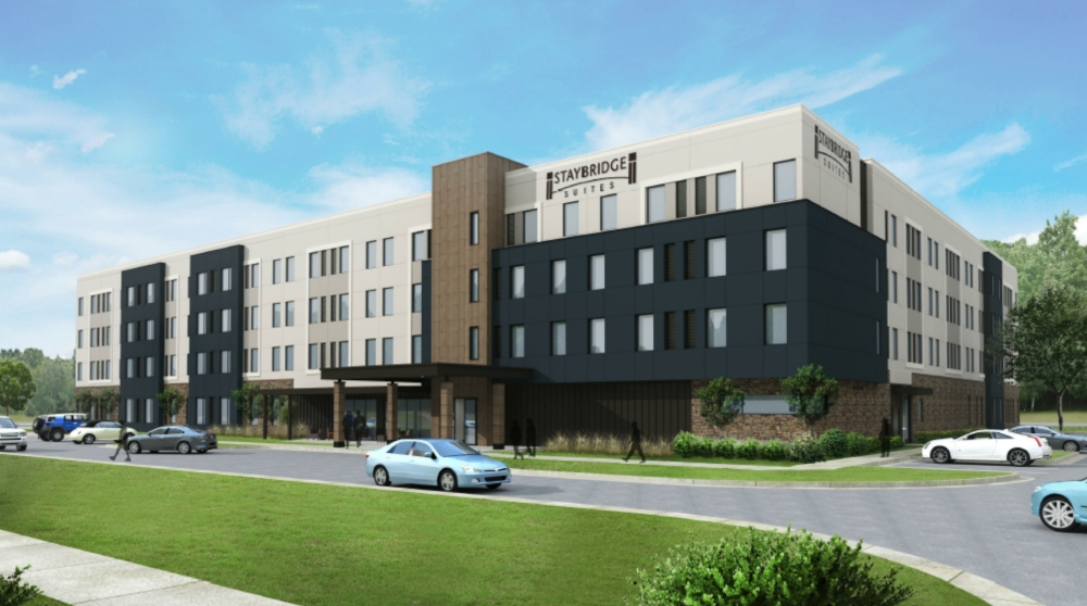 A possible concept for a Staybridge Suites extended-stay hotel has been proposed at 415 Lois St., Roanoke. (Rendering courtesy Navid Karedia)