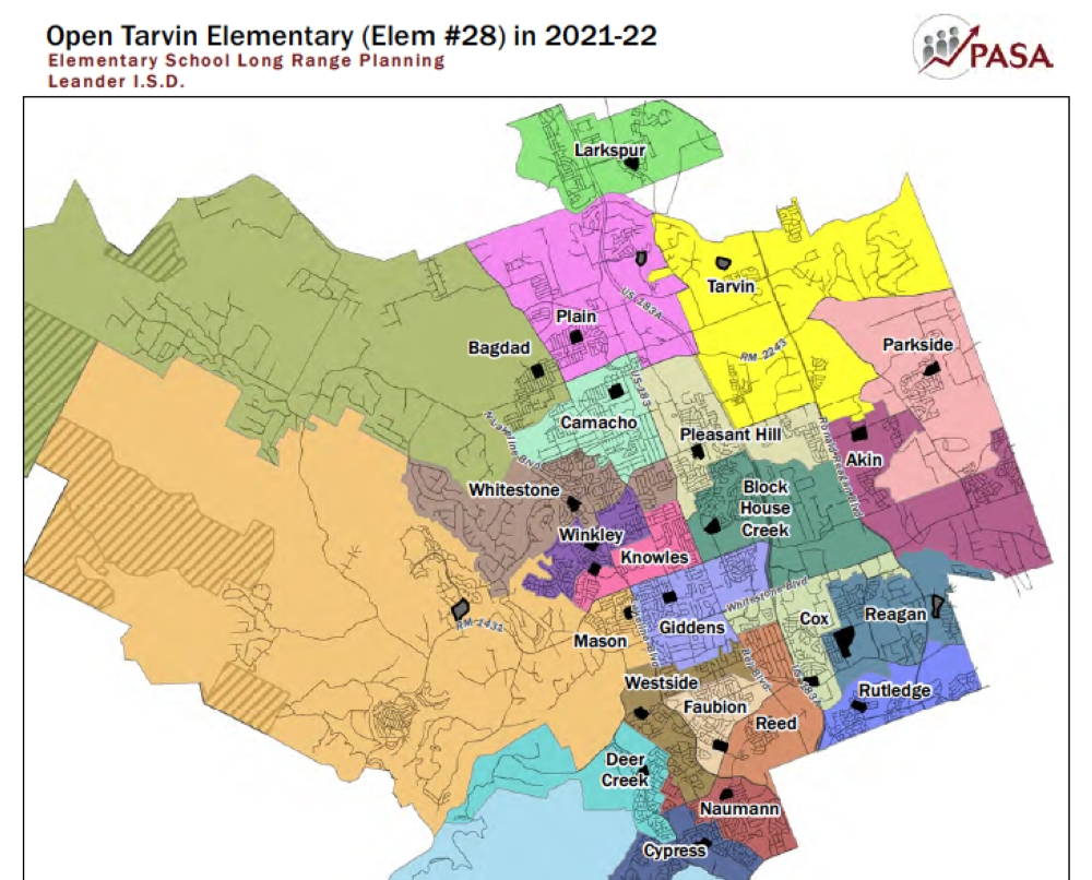 This map from the Leander ISD demographer's report shows a rough outline of elementary school boundaries in the northern half of the district for the 2021-22 school year. (Courtesy Leander ISD)