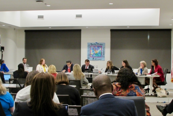 Austin ISD trustees met Feb. 24 for a board meeting at the new Austin ISD headquarters in South Austin. (Nicholas Cicale/Community Impact Newspaper)