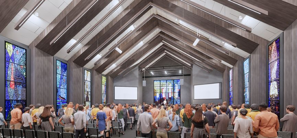 The new student center will serve as a flexible space that can transform from a traditional worship venue with stained glass to host funerals and weddings to a black box geared for student worship, the release states. (Rendering courtesy Faithbridge)