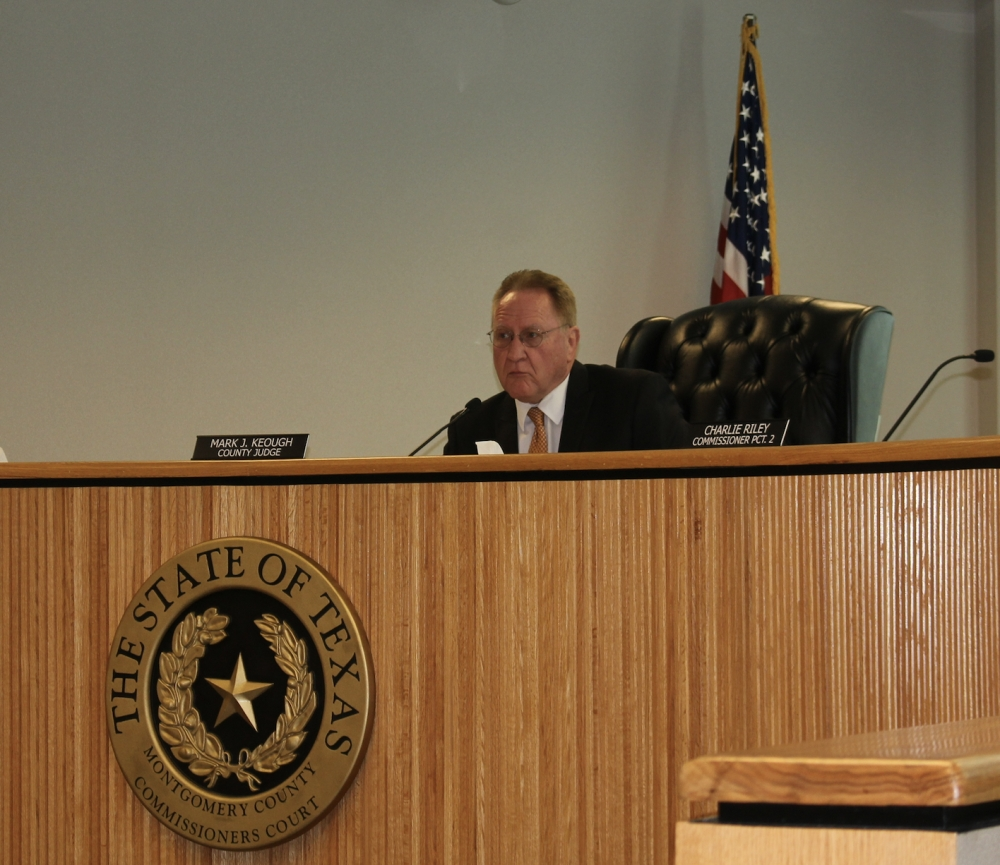 Montgomery County Judge Mark Keough, along with the rest of the Commissioners Court, accepted the 2019 racial profiling report Feb. 25. (Eva Vigh/Community Impact Newspaper)