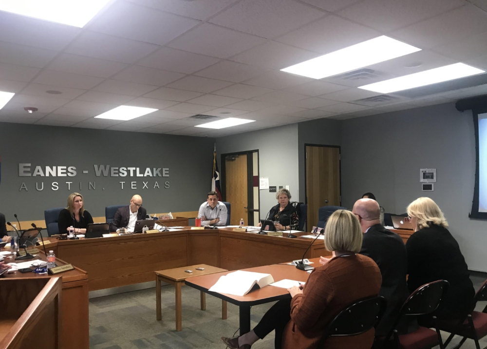 General Counsel Allyson Collins, Deputy Superintendent Jeff Arnett and Chief Human Resources Officer Laurie Lee presented the board with the proposed amendments during a Feb. 25 meeting. (Amy Rae Dadamo/Community Impact Newspaper)