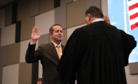 Philip Hassler was sworn onto the McKinney ISD's Board of Trustees during a Feb. 25 meeting. (Liesbeth Powers/Community Impact Newspaper)