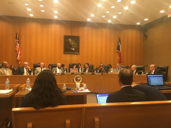 Harris County commissioners voted 3-2 at a Feb. 25 meeting to begin a search process to replace Chief Budget Officer Bill Jackson (far right). (Shawn Arrajj/Community Impact Newspaper)