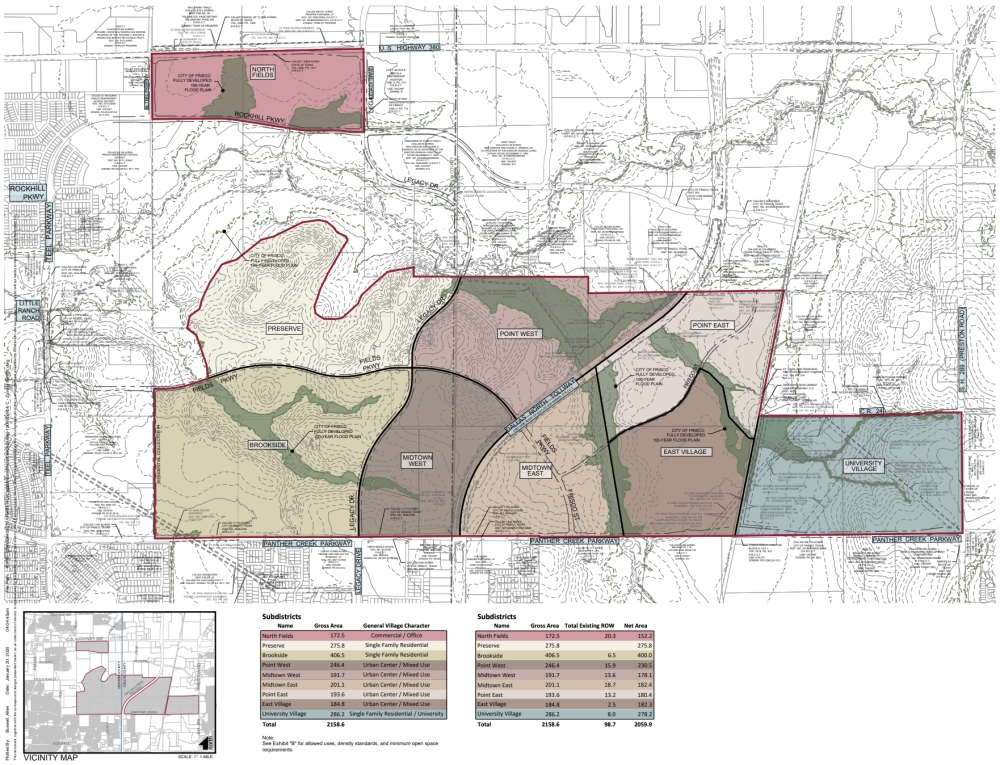 The project on the Fields property will hold nine subdistricts. (Courtesy city of Frisco)