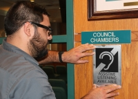 Friendswood City Hall assistive listening available sign