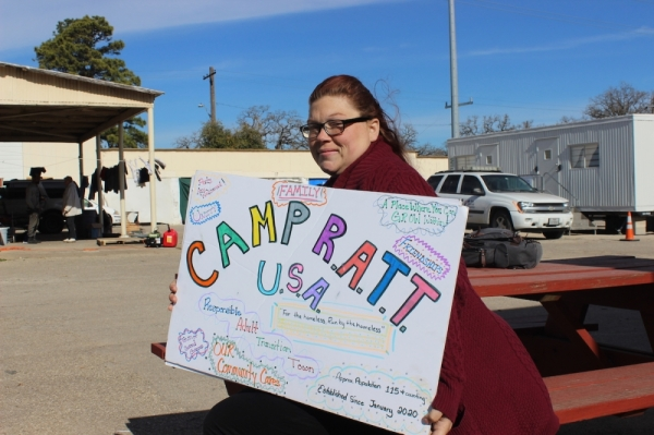 Cori Roberts, a member of the three-person Camp RATT council and resident of the state-sanctioned homeless encampment in Southeast Austin, has been homeless since she was a teenager. (Christopher Neely/Community Impact Newspaper)