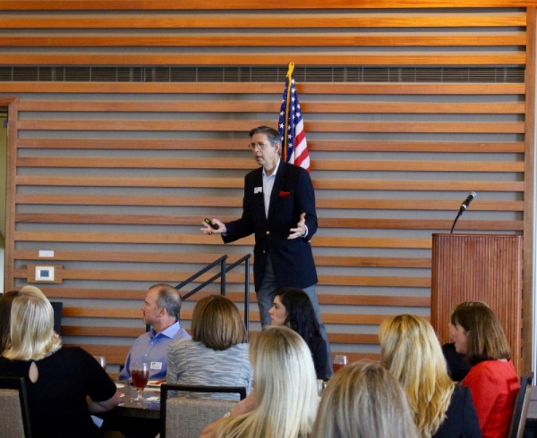 Brad Lancaster, Lake Travis ISD's superintendent, addresses the Lake Travis Chamber about the state of the school district Sept. 21, 2017. (Nicholas Cicale/Community Impact Newspaper)