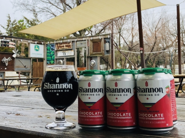 Shannon Brewing Company in Keller released a Chocolate Covered Strawberries brew to celebrate Valentines Day and will release Bangowit, a blood orange and mango concoction, for St. Patrick's Day. (Ian Pribanic/Community Impact Newspaper)