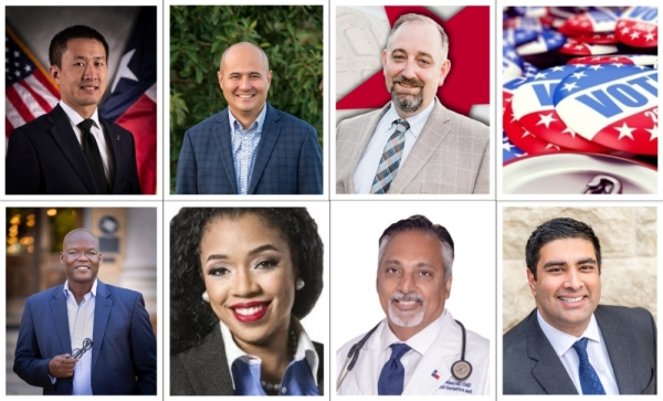 "Republicans Leonard N. Chan, Jacey Jetton and Matt Morgan (top row from left to right) and Democrats Lawrence Allen Jr., L ""Sarah"" DeMerchant, Suleman Lalani and Rish Oberoi (bottom row from left to right) are competing in the March 3 primary election for Texas House District 26."