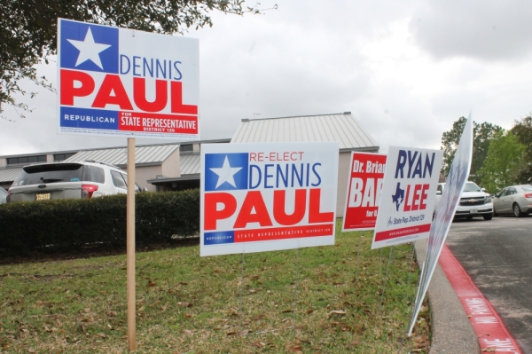 Dennis Paul, voting signs, Bay Area, Texas 2020 primary elections, Texas 2020 primaries