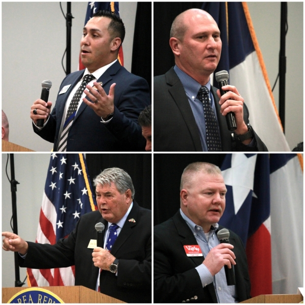 The four candidates running for this position are: Daniel Pena (top left), David Eason (top right), Gene DeForest (bottom left) and Clyde Vogel (bottom right). (Andy Li/Community Impact Newspaper)