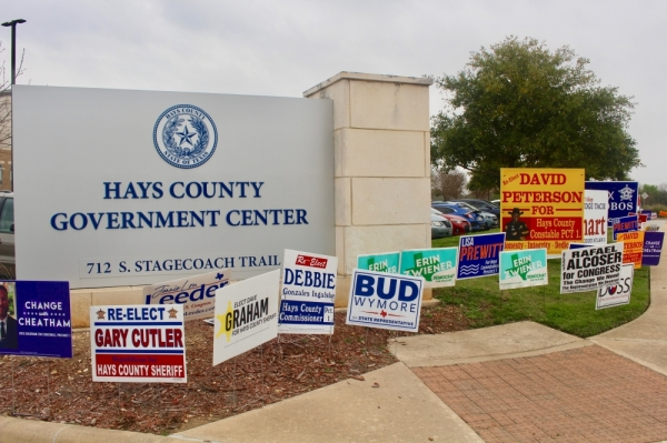 David L. Peterson and Cody Cheatham are competing for the Democratic nomination on the March 3 ballot for Hays County constable Precinct 1. (Evelin Garcia/Community Impact Newspaper)