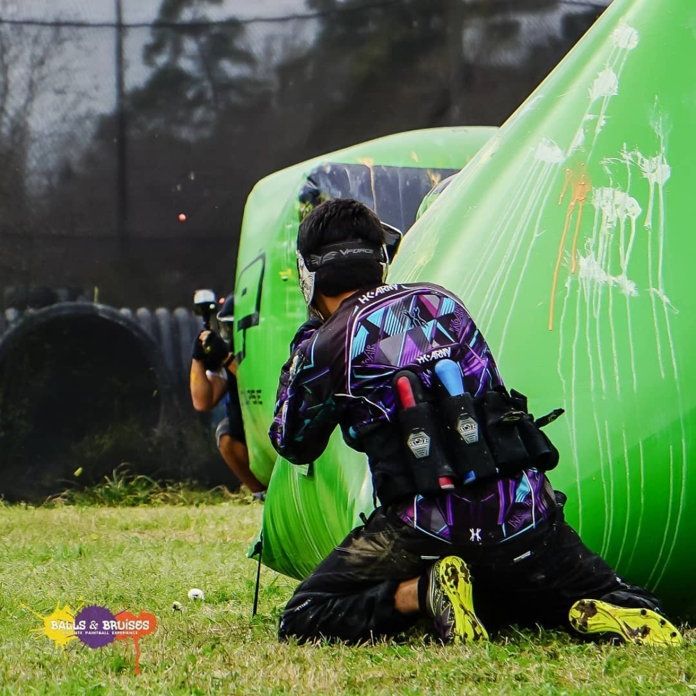 The 20-acre paintball and Airsoft facility features eight themed courses, including several in the business's large wooded area. (Courtesy Balls & Bruises-An Elite Paintball Experience)