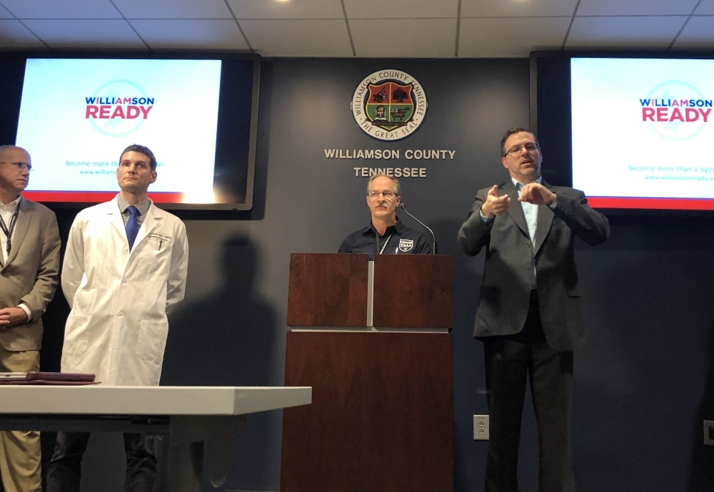 State and local health officials update the public following the announcement of the state's first confirmed COVID-19 case in Tennessee. (Dylan Skye Aycock/Community Impact Newspaper)