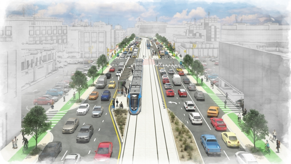 Capital Metro is proposing new public transit options, including rail in dedicated transit-only lanes that are separated from traffic. (Rendering courtesy Capital Metro)