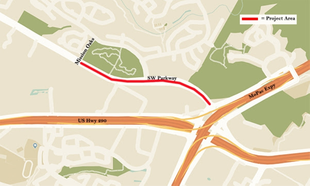 Maintenance will begin on Southwest Parkway on March 9. (Courtesy the city of Austin)