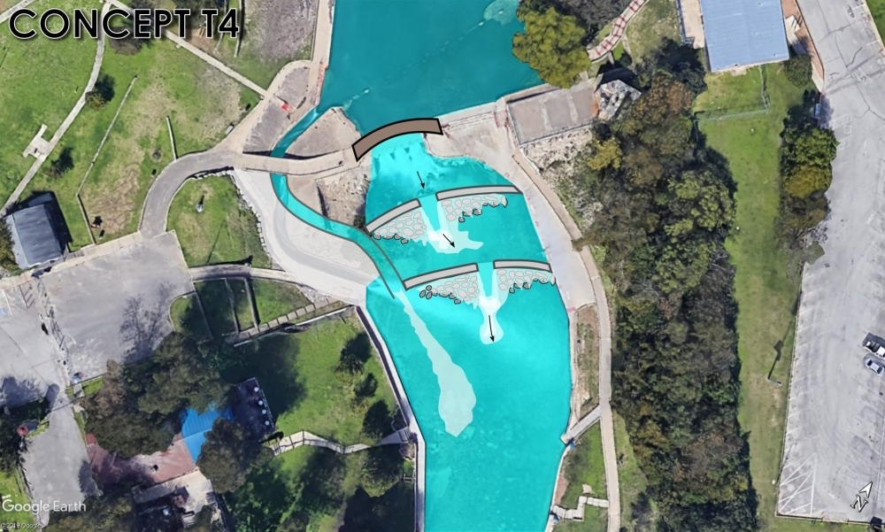 An early concept for the Tube Chute portion of the Comal River Improvements Project features a system of step-down dams. (Courtesy city of New Braunfels)