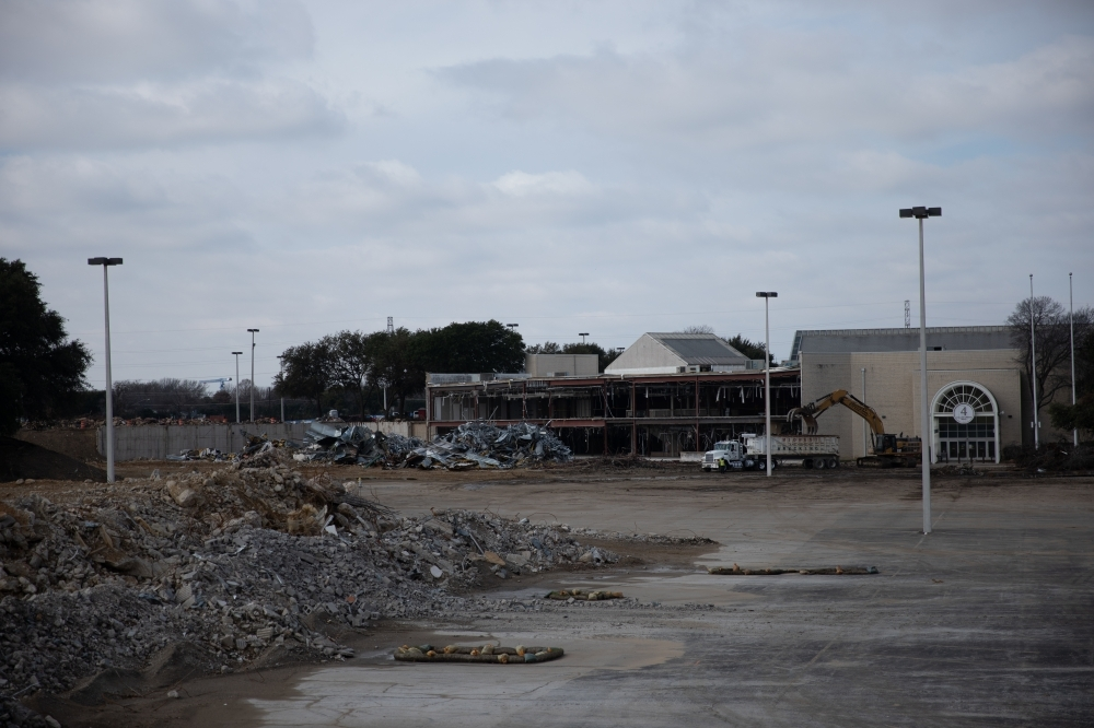 The Collin Creek Mall redevelopment project will likely receive $30 million in federal funds toward a parking garage in April. The redevelopment project is currently in its demolition phase, as seen on Jan. 29, when this photo was taken. (Liesbeth Powers/Community Impact Newspaper)