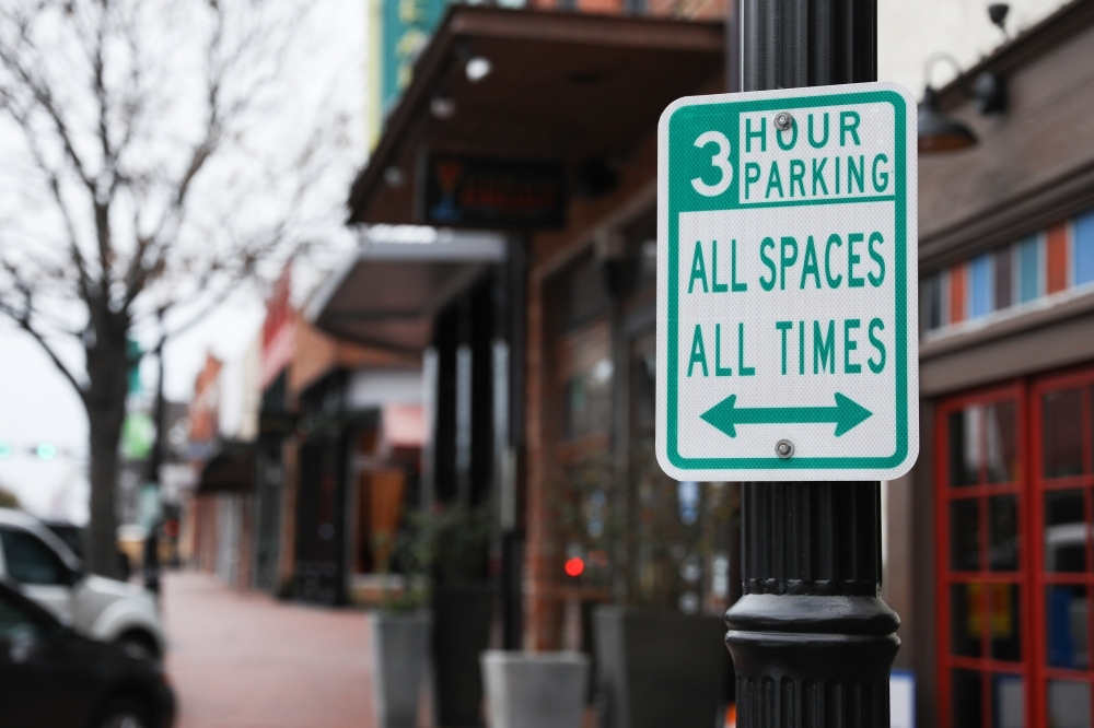 All on-street parking downtown will have a three-hour limit at all times, with the exception of select one-hour spots. (Liesbeth Powers/Community Impact Newspaper)