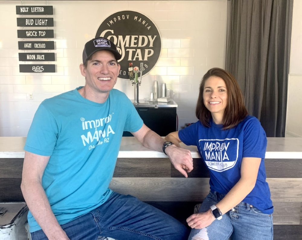 Dave and Colleen Specht own and operate ImprovMania in downtown Chandler. (Alexa D'Angelo/Community Impact Newspaper)