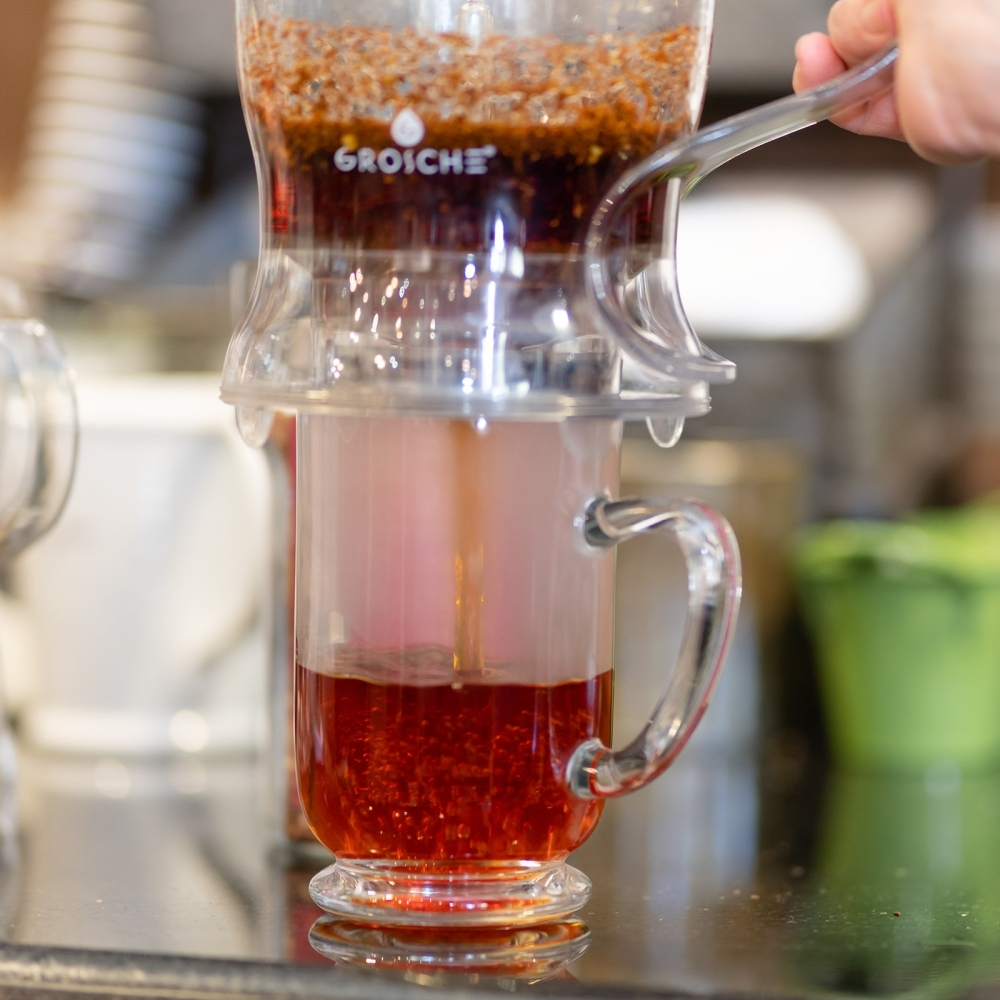 American Tea & Coffee uses a grosche infuser for some of its drinks. (Courtesy Randy Truesdell/American Tea & Coffee)