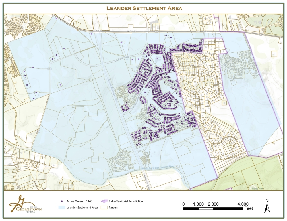 The Rancho Sienna MUD will begin receiving Leander water in late May. On the map, purple dots represent affected water customers. (Courtesy city of Leander)