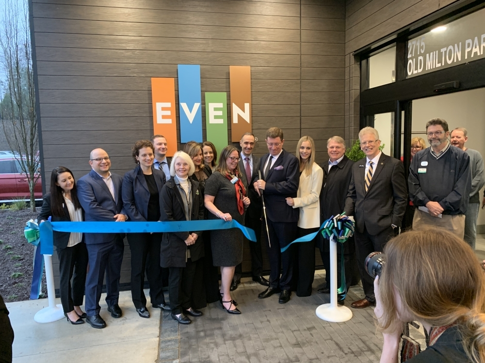 EVEN Hotel Alpharetta-Avalon Area celebrated its opening with a ribbon cutting Feb. 18. (Kara McIntyre/Community Impact Newspaper)