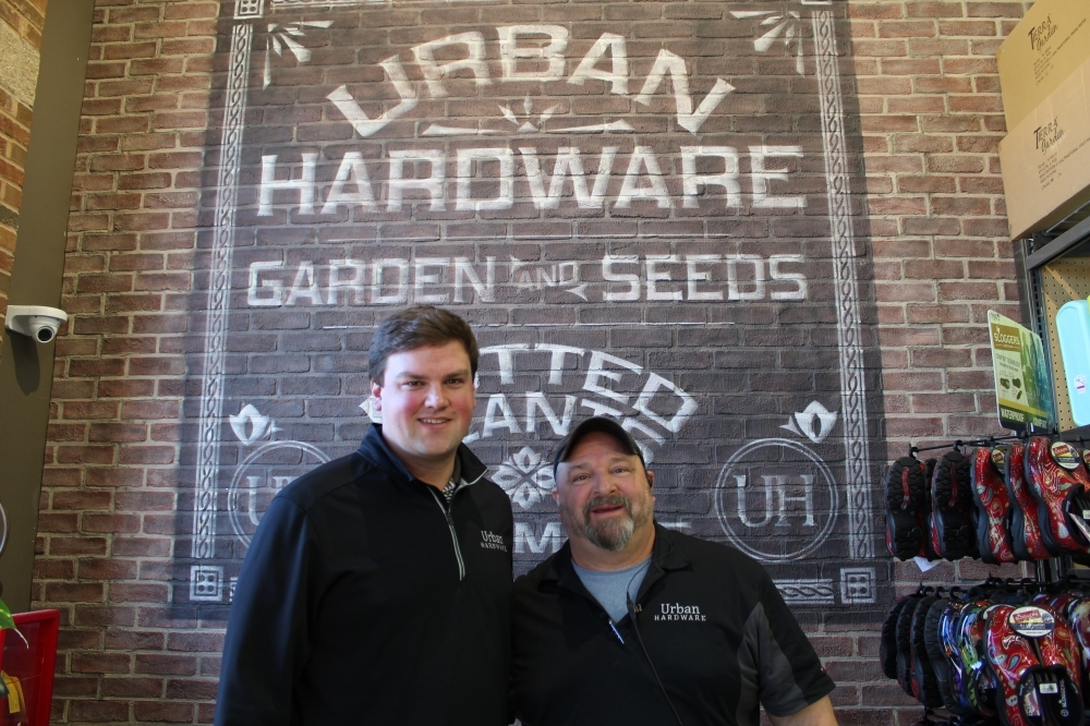 Assistant Manager Colby Rodgers (left) and General Manager Ronald Founds (right) helped open Urban Hardware in April 2019. (Kara McIntyre/Community Impact Newspaper)