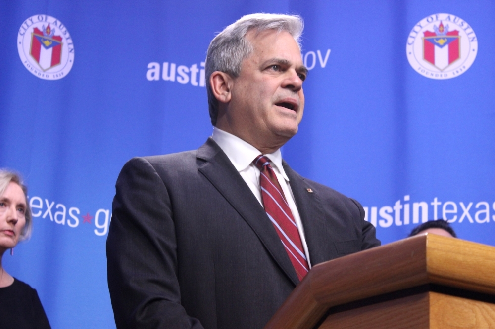 Austin Mayor Steve Adler speaks to the media during a press conference at Austin City Hall on March 6. Adler and Travis County Judge Sarah Eckhardt issued local disaster orders effectively canceling South by Southwest Conference and Festivals. (Jack Flagler/Community Impact Newspaper)