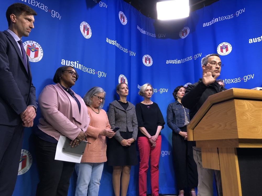 Dr. Mark Escott speaks to reporters during a news conference March 6 at Austin City Hall. (Jack Flagler/Community Impact Newspaper)
