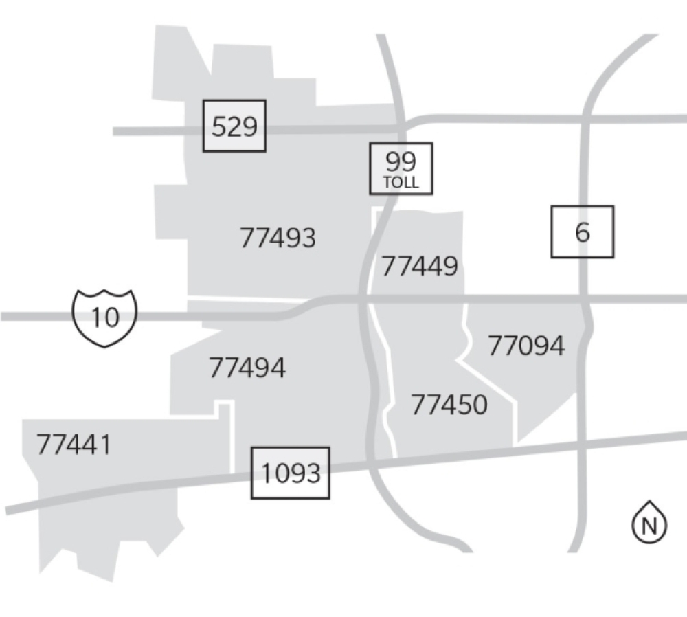 This map indicates the locations of the six Katy-area ZIP codes. (Designed by Anya Gallant/Community Impact Newspaper)
