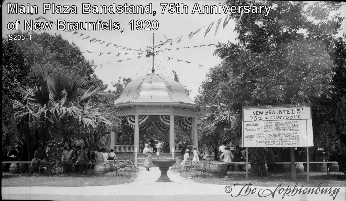 The Main Plaza Bandstand is pictured on the 75th anniversary of New Braunfels in 1920. (Courtesy New Braunfels Chamber of Commerce)