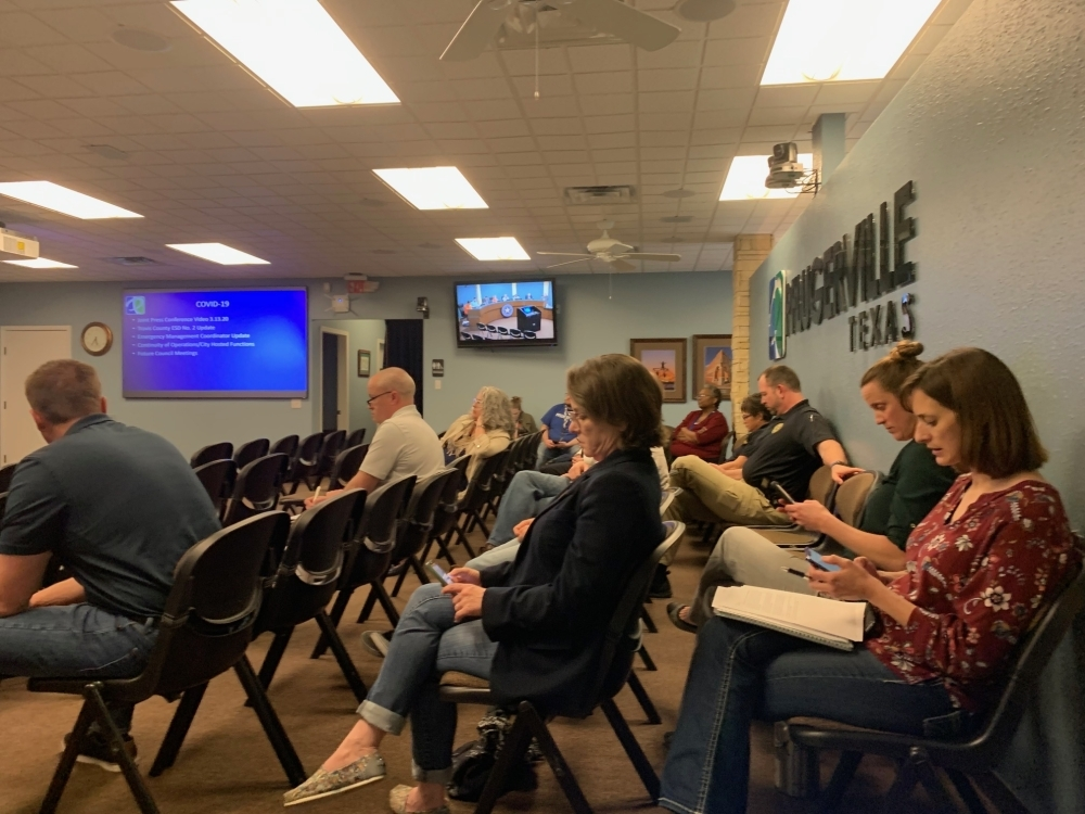 Mostly city staff attended a meeting Friday to discuss the operations plan and cancelling several events and training. (Joe Warner/Community Impact Newspaper)