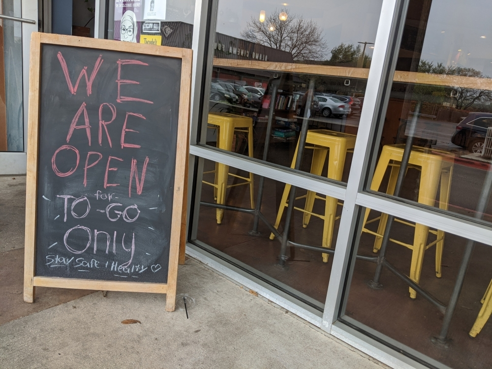 Epoch Coffee on West Anderson Lane in North Central Austin is only open for to-go orders as of March 16. (Iain Oldman/Community Impact Newspaper)
