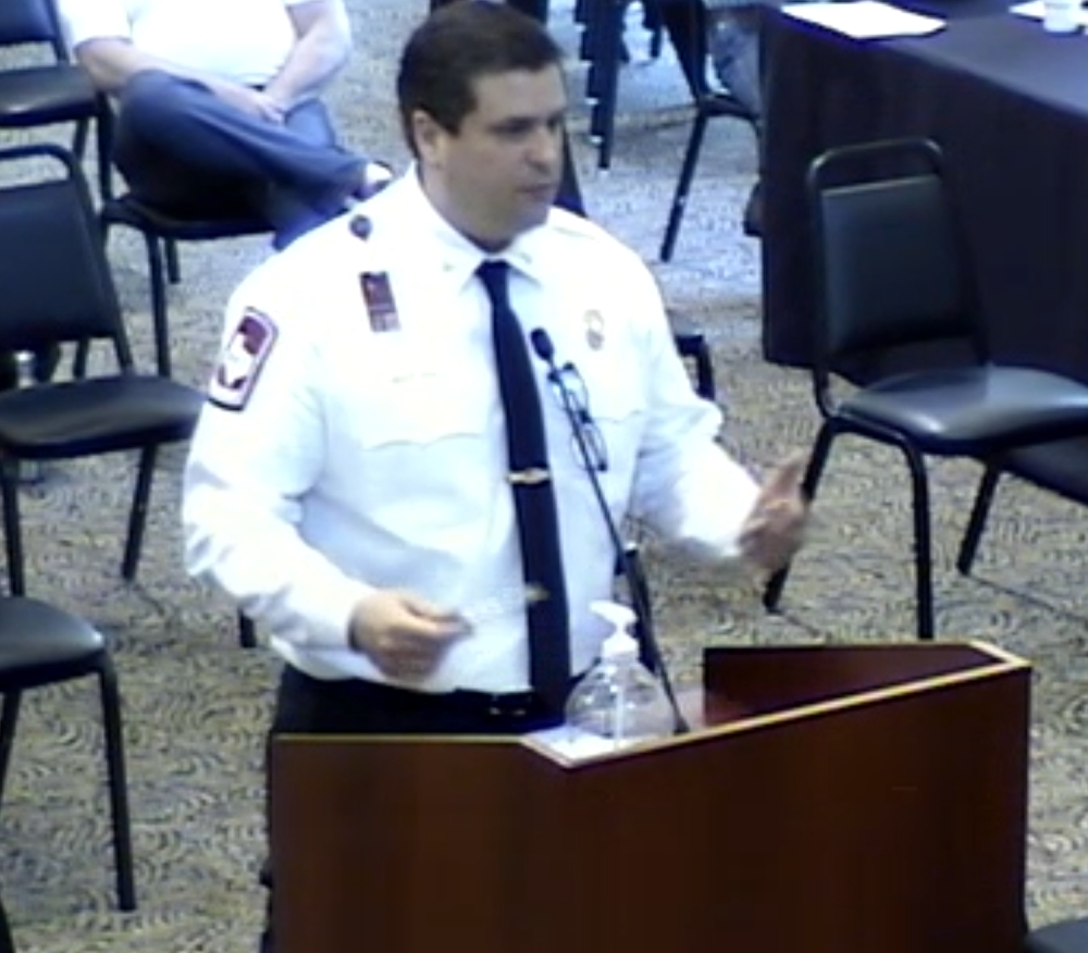 Lake Travis Fire Rescue Chief Robert Abbott addresses Lakeway City Council during the March 16 meeting. (Courtesy city of Lakeway)