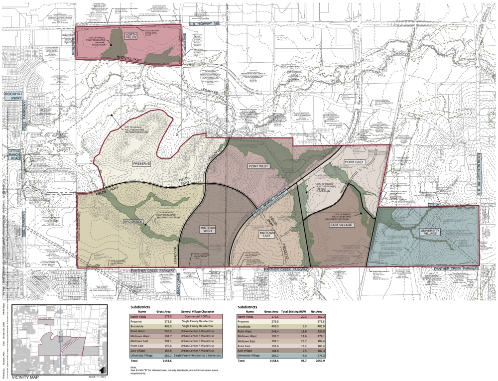 The project on the Fields property will feature nine subdistricts. (Courtesy city of Frisco)