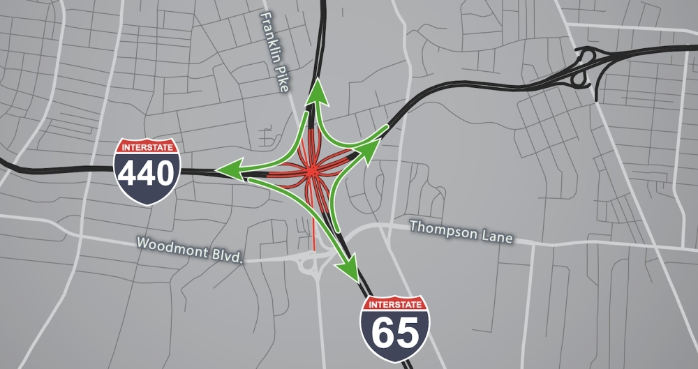 The Tennessee Department of Transportation will detour traffic away from the I-440/I-65 interchange the weekend of March 20-23. (Courtesy TDOT)