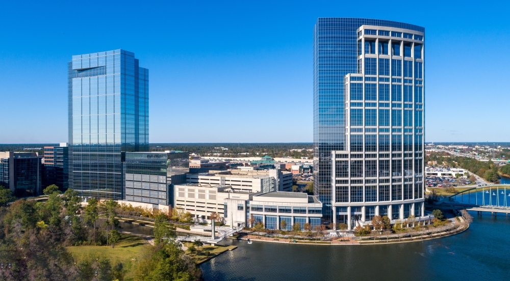 Western Midstream Partners LP will occupy the top five floors of the tower at 9950 Woodloch Forest Drive. (Courtesy The Howard Hughes Corp.)
