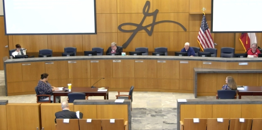 Georgetown City Council members sit a responsible distance apart at a special called meeting March 19. (Screenshot courtesy city of Georgetown)