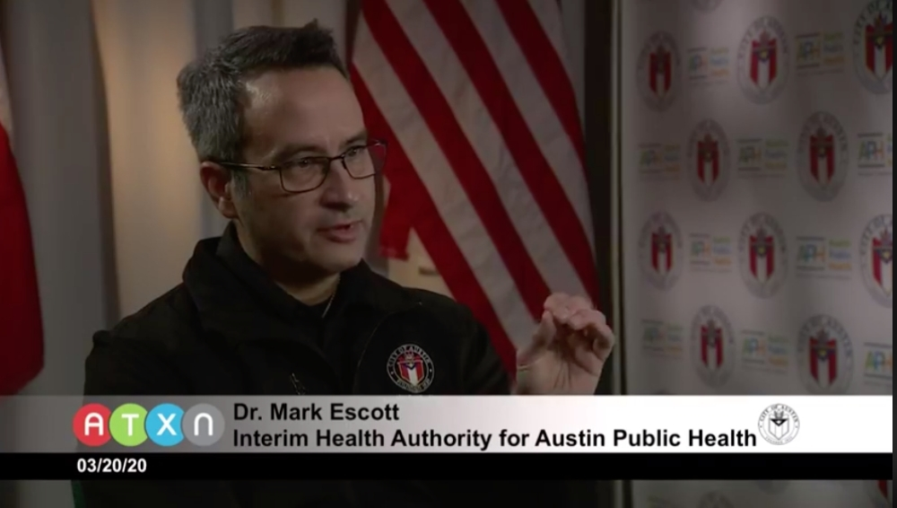 Dr, Mark Escott speaks at a press conference March 20 at the Combined Transportation, Emergency and Communications Center in Austin. (Courtesy ATXN)