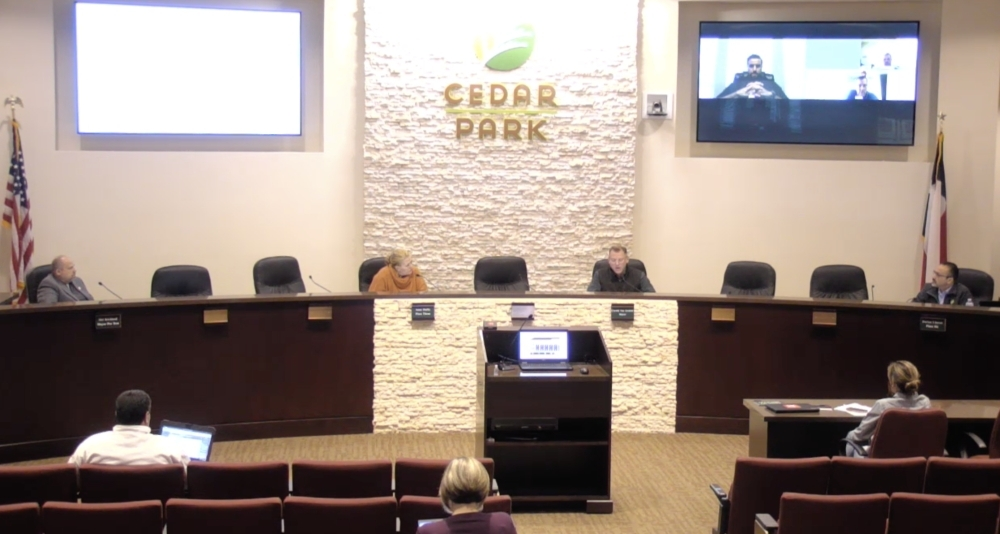 Cedar Park City Council met for an emergency meeting March 22. (Screenshot courtesy city of Cedar Park)