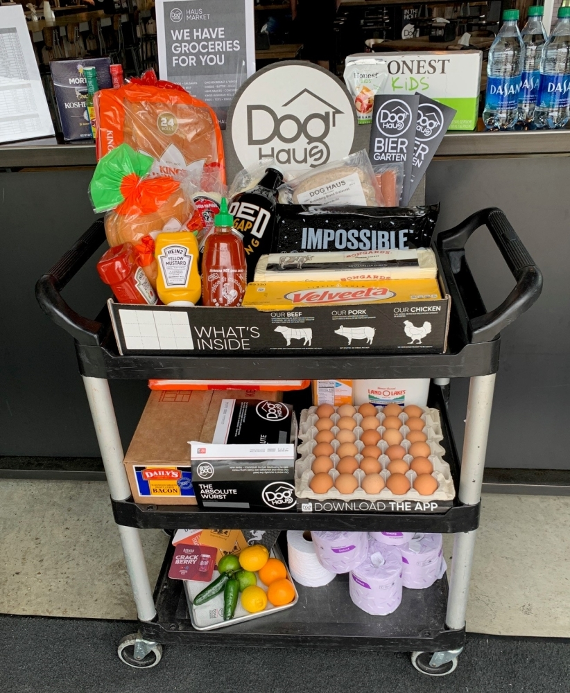 The Haus Market at Dog Haus Biergarten features a selection of essential grocery items available for purchase. (Courtesy Dog Haus Biergarten)