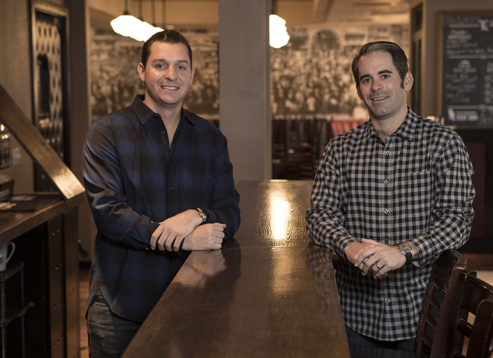Tony Ciola (left) and Creed Ford IV (right) own The League Kitchen & Tavern and Tony C's Coal Fired Pizza. (Courtesy Giant Noise Public Relations)