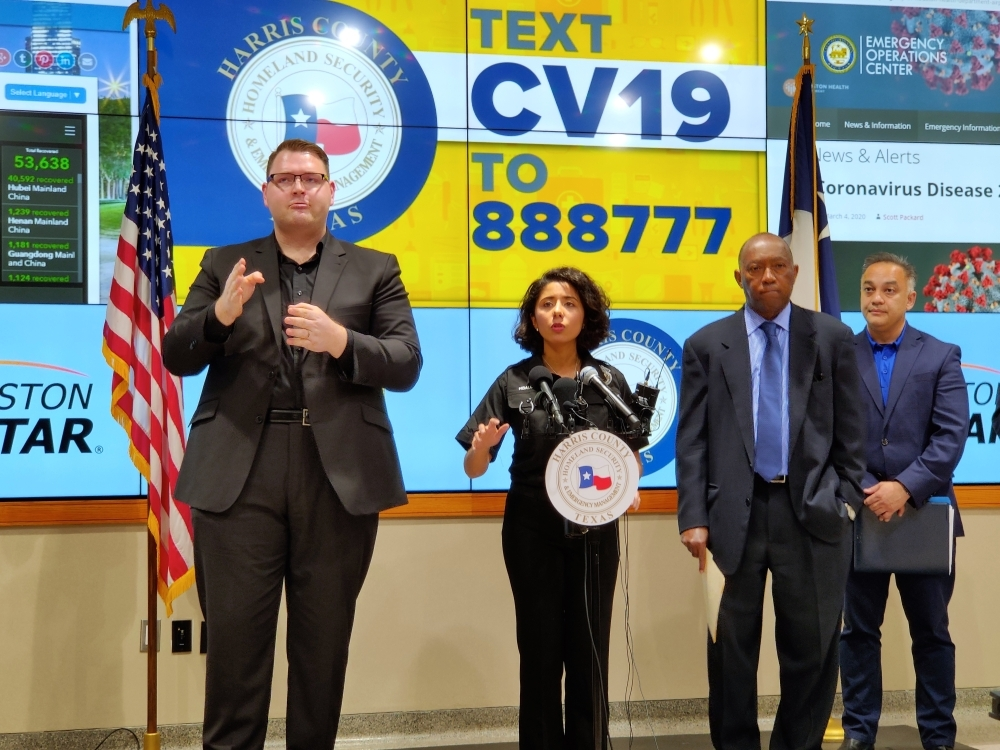 County Judge Lina Hidalgo (center), Houston Mayor Sylvester Turner and Harris County Public Health Executive Director Umair A. Shah spoke at a March 5 press conference about Harris County's first confirmed COVID-19 cases. (Ben Thompson/Community Impact Newspaper)