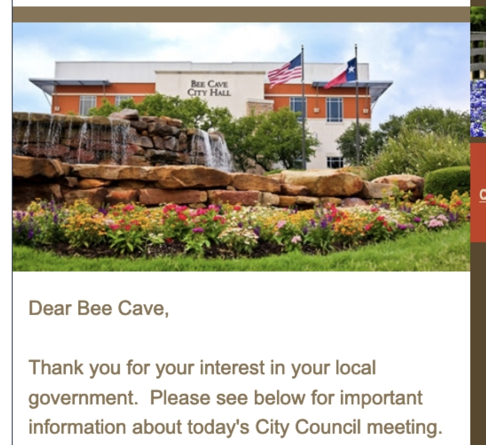 The city of Bee Cave is offering a call-in option for the March 24 City Council meeting. (Screen shot)